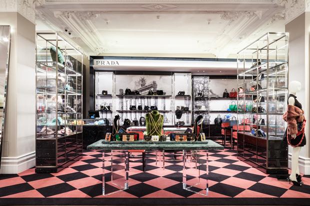 Prada handbag concession in Harrods.